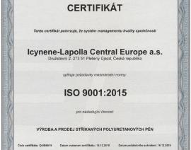 Certifikát managementu kvality společnosti ICYNENE